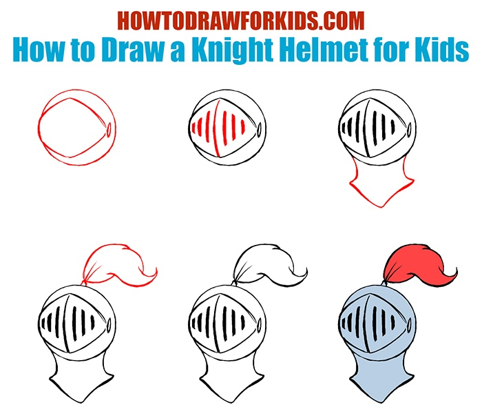 How to Draw a Knight Helmet for Kids Easy