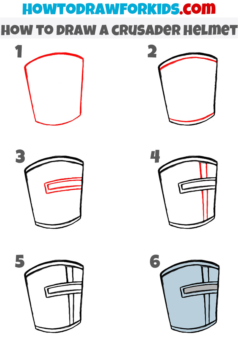 how to draw a crusader helmet