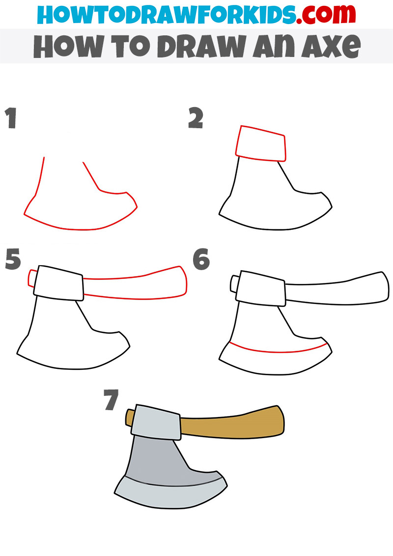 how to draw an axe