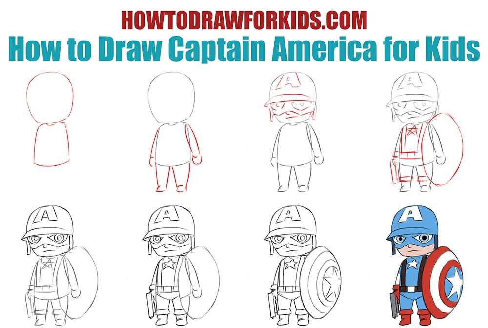 How to draw Captain America for kids easy