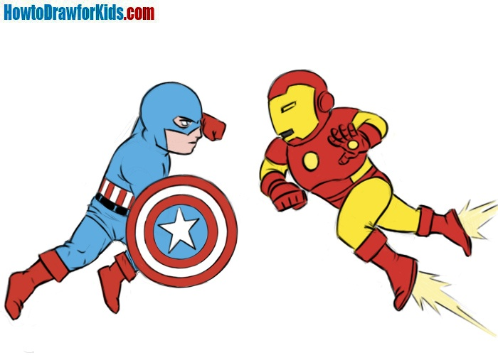 How to draw Captain America vs Iron Man