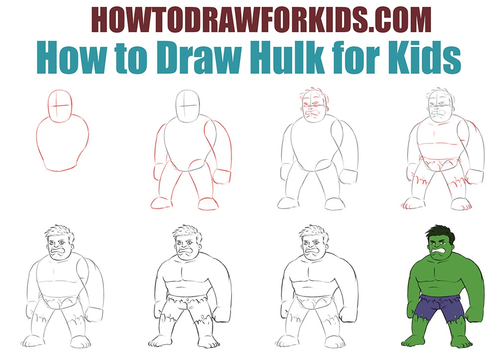 How to draw Hulk for kids easy