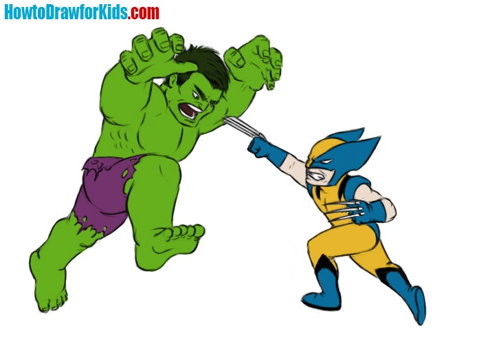 How to draw Hulk vs Wolverine