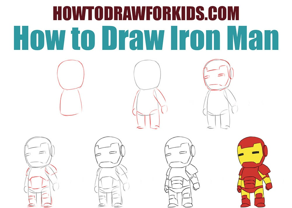 How to draw Iron Man for kids step by step