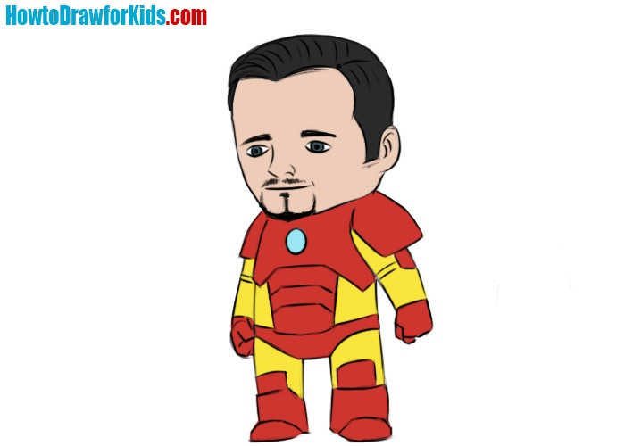 How to draw Tony Stark for kids