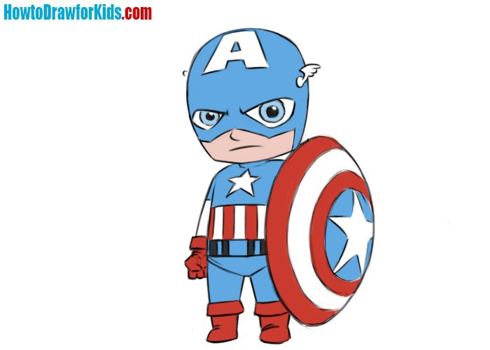 How to draw classic Captain America for kids
