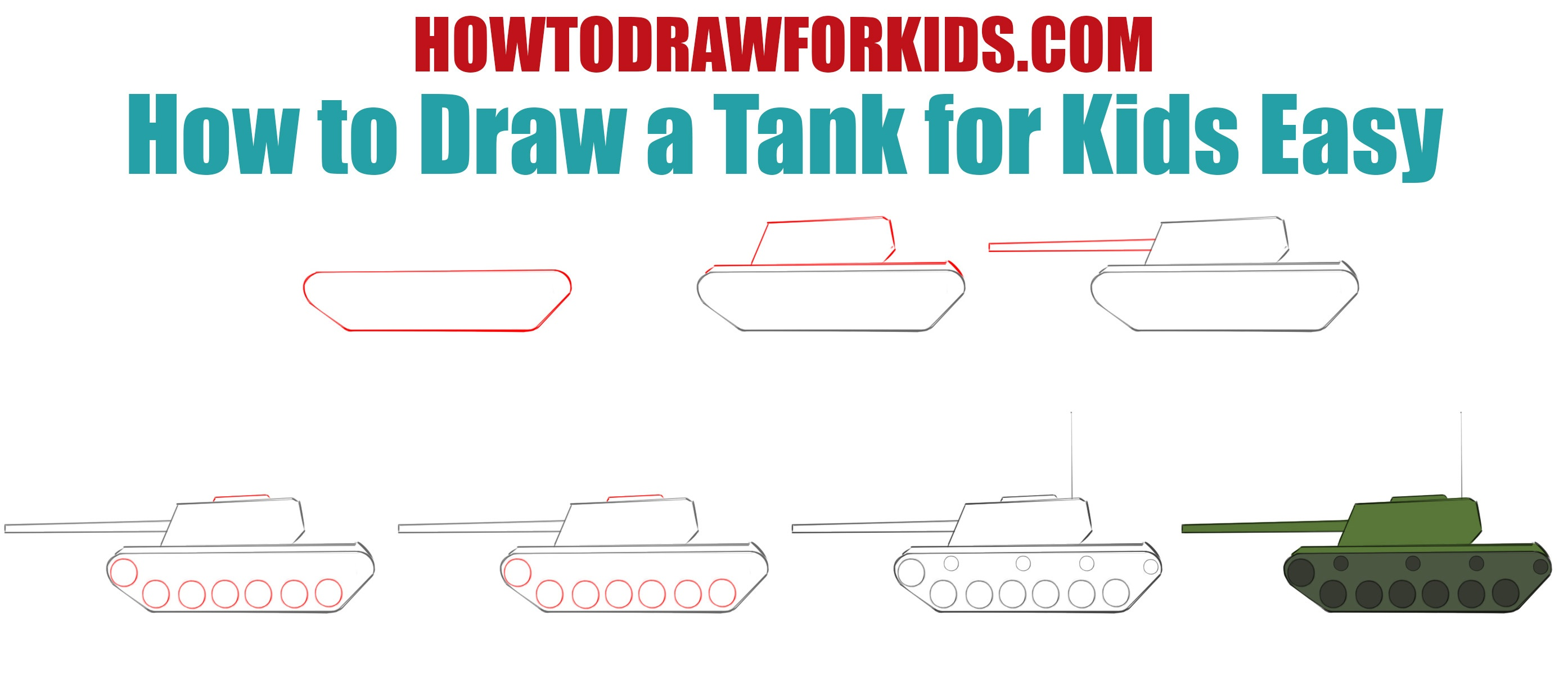 How to draw a tank easy for kids Step by Step