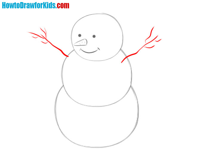 Snowman drawing lesson