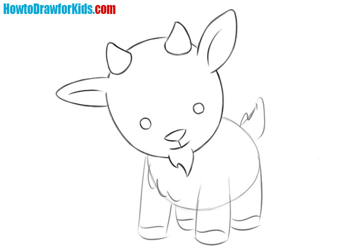 how to draw a Goat baby for kids