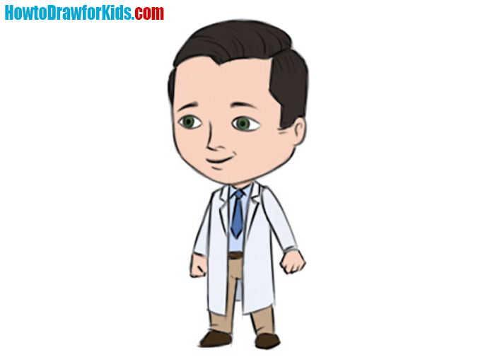 how to draw doctor for kids