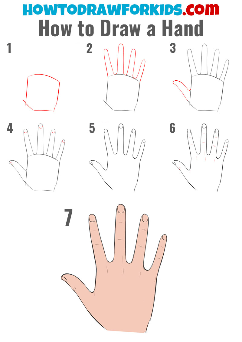 How to draw a hand easy for kids