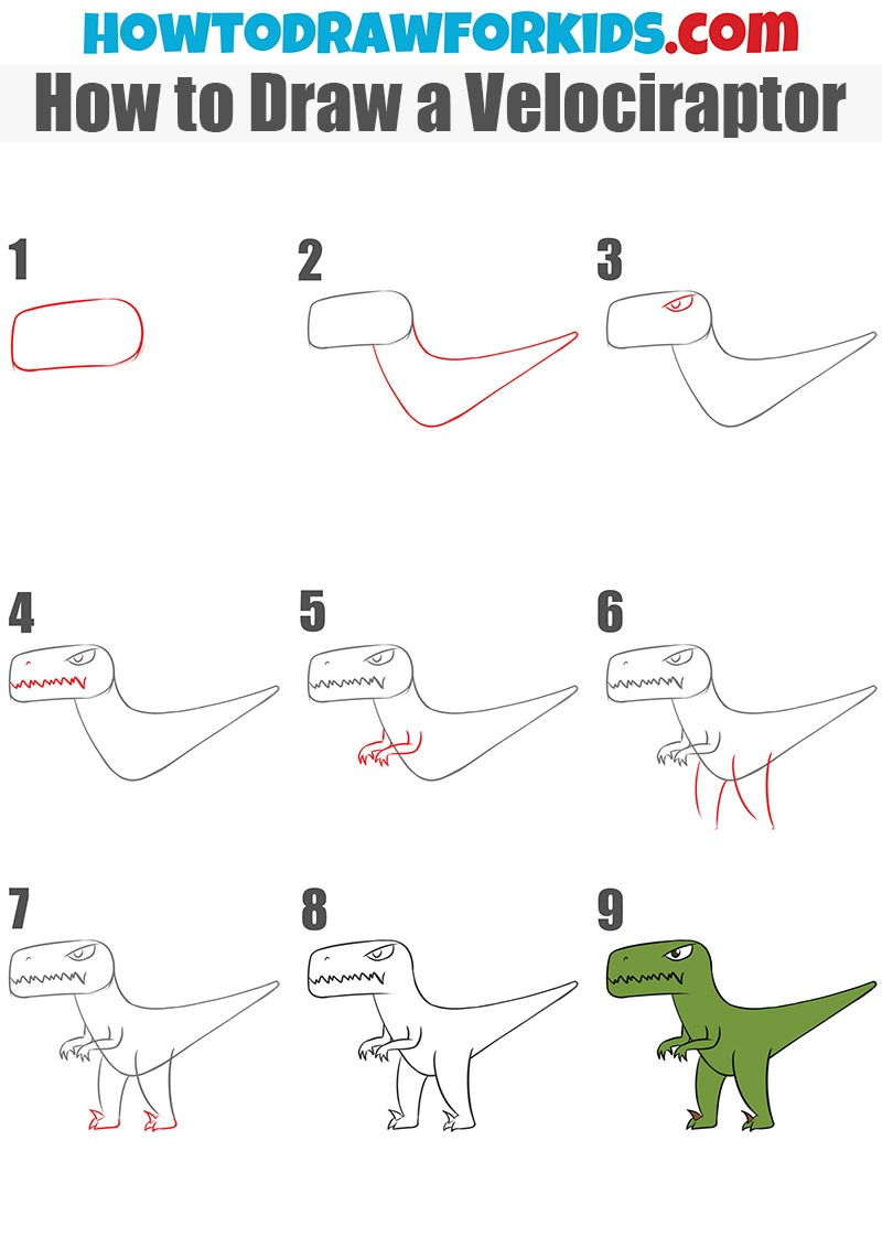How to Draw a Velociraptor - step by step drawing tutorial