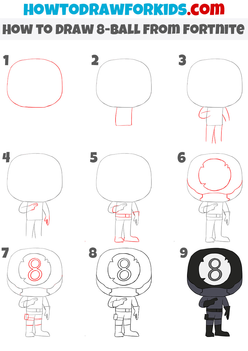 How to Draw 8-ball from fortnite step by step