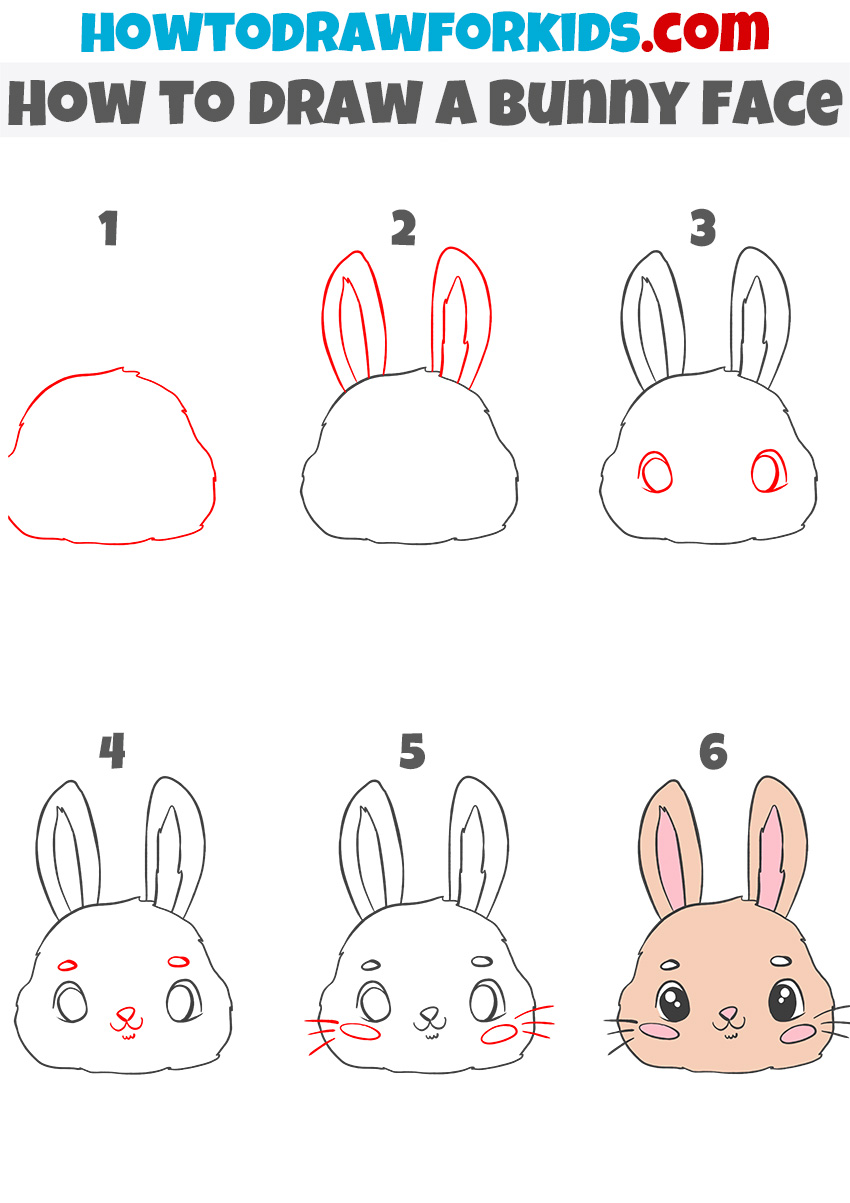 How to draw a bunny face step by step