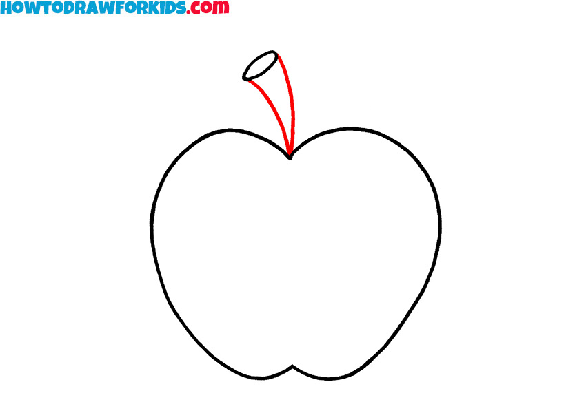 how to draw a simple apple step by step