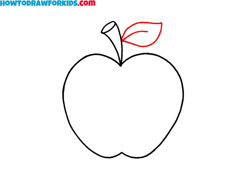 how to draw a simple apple for kids