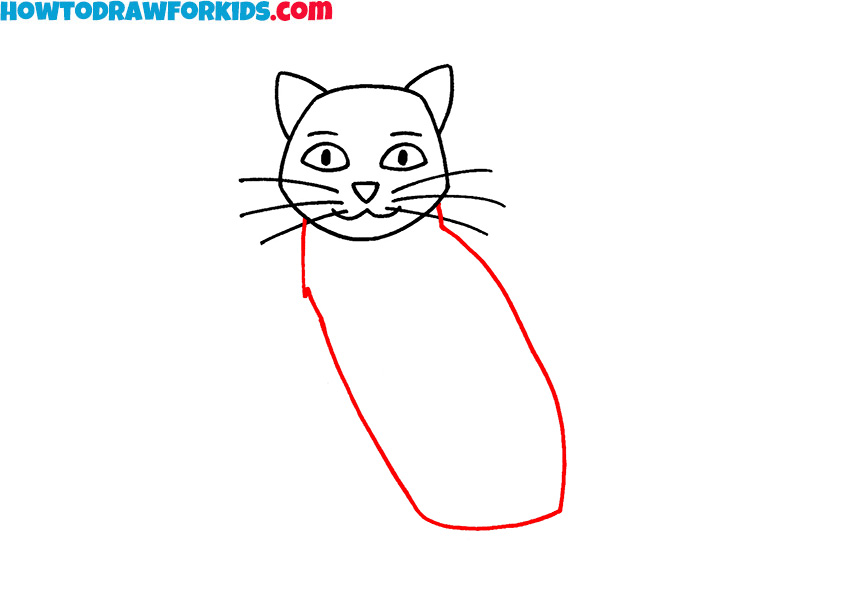 how to draw a sitting cat for beginners