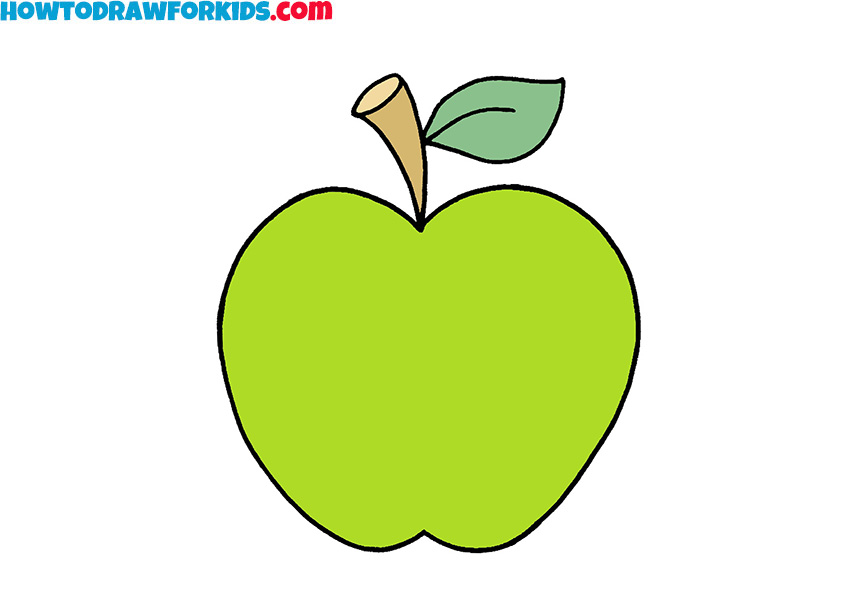 how to draw a simple apple