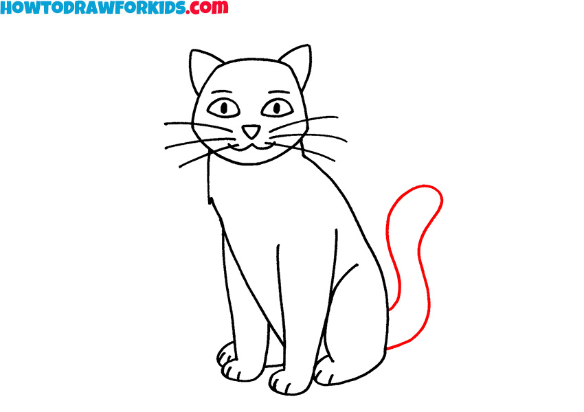how to draw a sitting cat easy