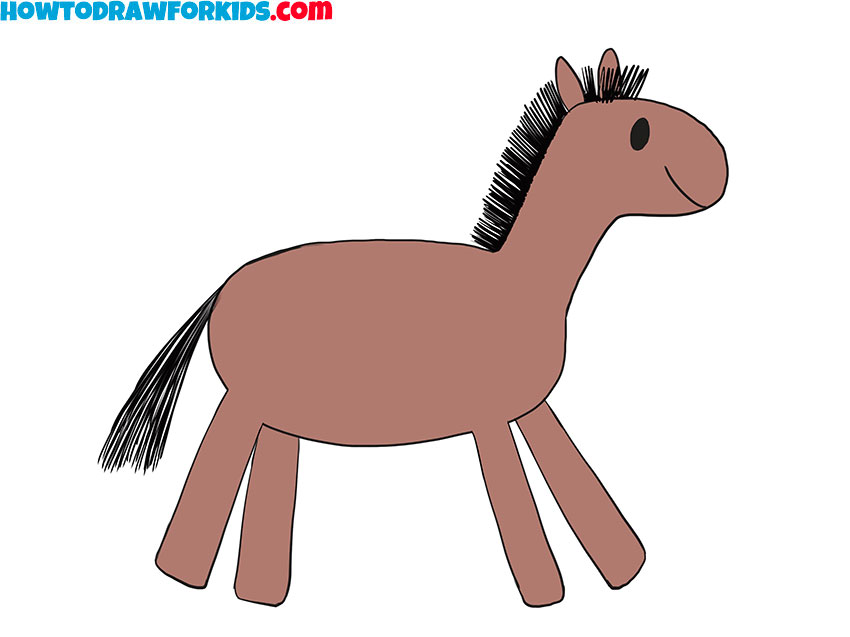 How-to-Draw-a-Horse-for-Kindergarten-easy