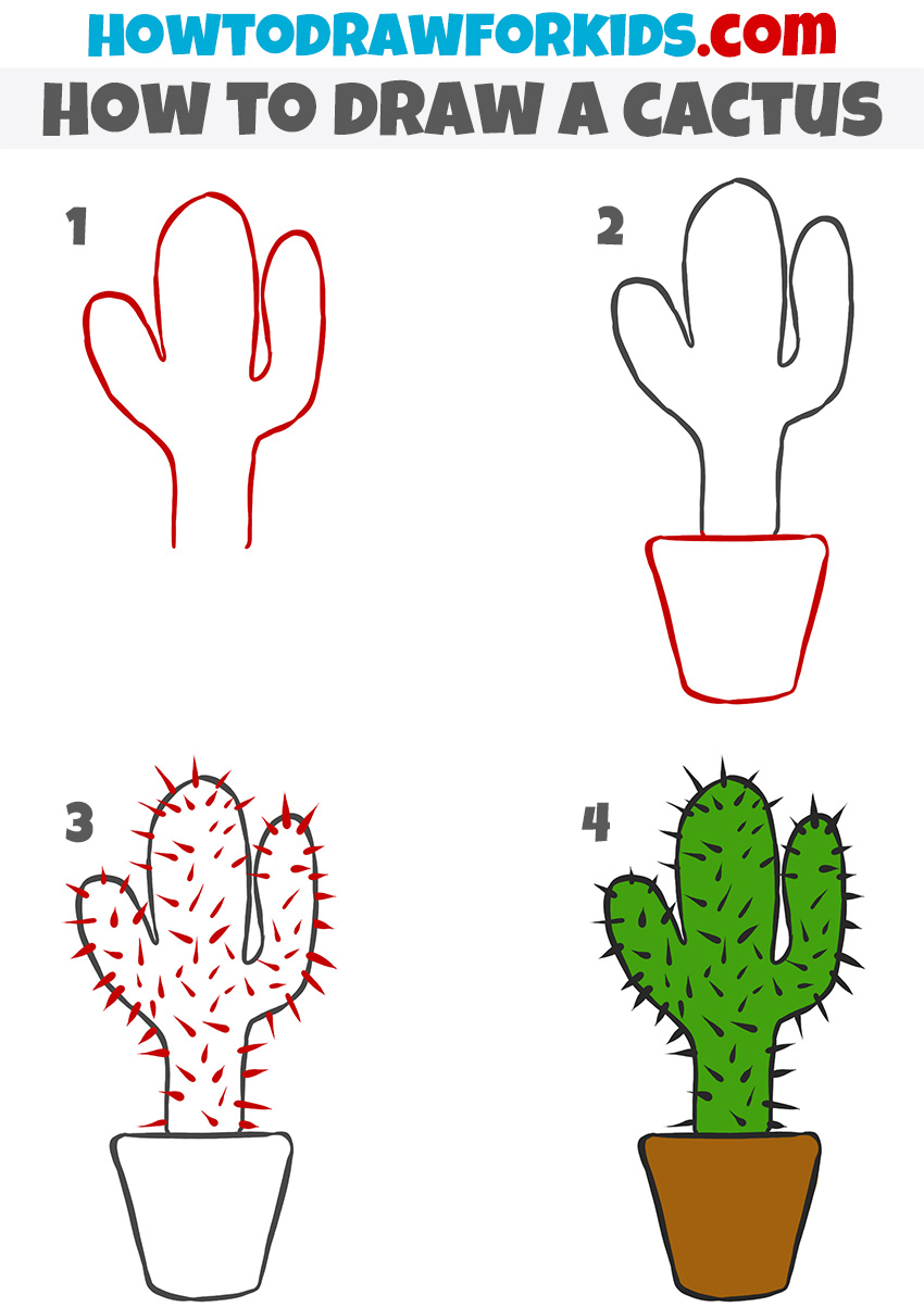 How to draw a cactus step by step