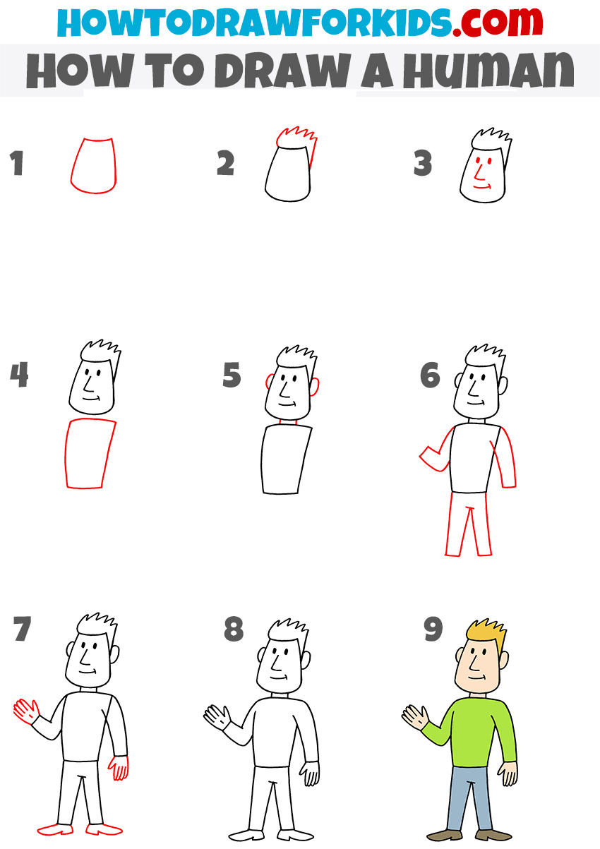 How to draw a human step by step