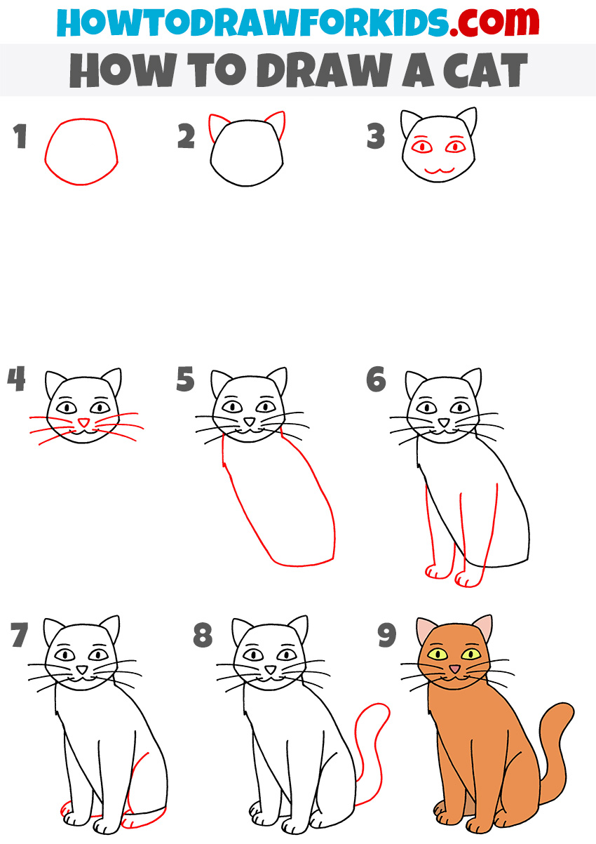 How to draw a simple cat step by step