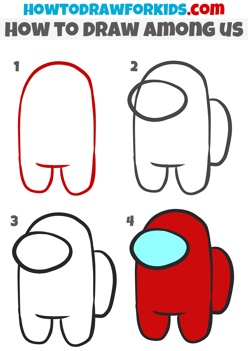 How to draw among us step by step