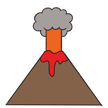 How to Draw a Volcano for Kindergarten